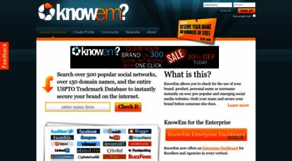 knowem.com - knowem username search: social media, domains and trademarks
