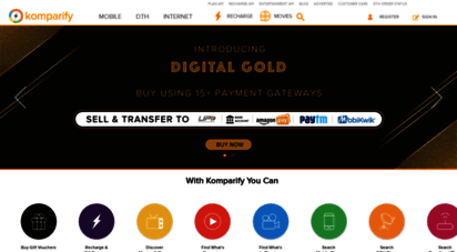 komparify.com - find the best recharge, postpaid plan, gift card, dth, broadband, movie, tv show
