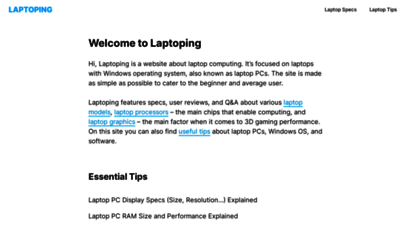 laptoping.com - laptoping - laptop pcs made simple