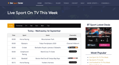 livesport.center - live sport on tv today - the complete sports channel guide
