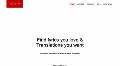 lyrics-on.net - lyrics and translations of songs to world languages  lyrics-on