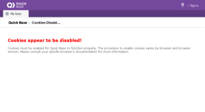 Welcome to Maintech quickbase com - Cookies Disabled