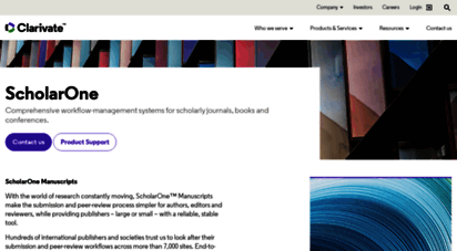 manuscriptcentral.com - workflow-management systems for scholarly journals - scholarone - web of science group