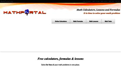 mathportal.org - free math calculators, formulas, lessons, math tests and homework help