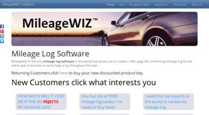 Welcome to Mileagewiz com - Mileage Log Software - Create