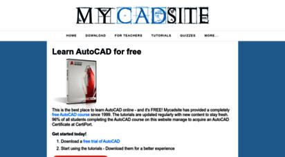 mycadsite.com - learn autocad free online tutorials, lessons, videos, quizzes