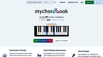 mychordbook.com - mychordbook  interactive chord library for guitar piano and ukulele