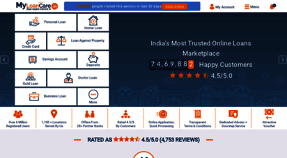 myloancare.in - myloancare - compare and apply loans & credit cards in india