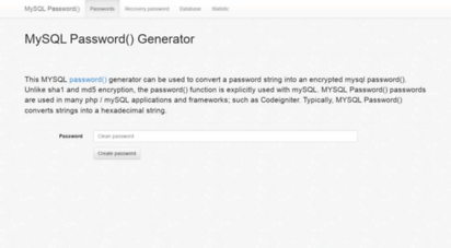 Welcome to Mysql-password com - MySQL Password() Generator