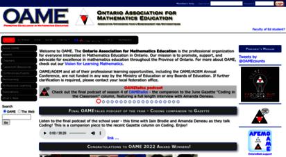 oame.on.ca - ontario ssociation for mathematics education ssociation ontarienne pour l´enseignment des mathematiques