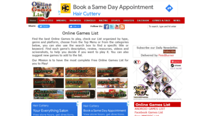 onlinegameslist.org - online games list - online games list with news and reviews of multiplayer games, including role playing, strategy, shooter, sports, racing, social, facebook, browser and mobile games.