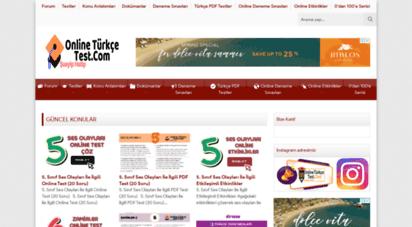 onlineturkcetest.com - online türkçe testi - türkçe dersi ile ilgili online testler
