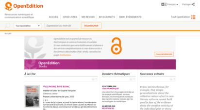 openedition.org - openedition: four platforms for electronic resources in the humanities and social sciences: openedition books, openedition journals, hypotheses, calenda