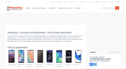 phonesdata.com - catalogue for smartphones - specifications and reviews - phonesdata