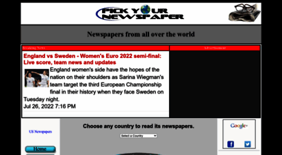 pickyournewspaper.com - pick your newspaper: the main source for all newspapers