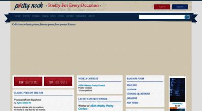 poetrynook.com - poetrynook.com: poem search engine, database, & forum for poets