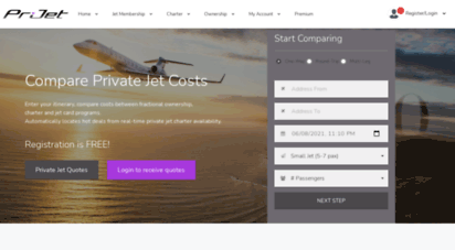 prijet.com - compare private jet charter  private jet card  fractional jet ownership