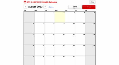 print-a-calendar.com - printable 2020 calendar