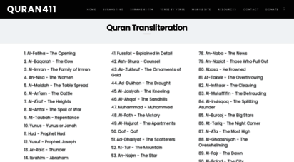 quran411.com - transliteration of the holy quran in roman script with english and arabic
