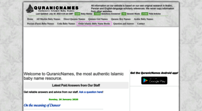 quranicnames.com - muslim baby names  newest islamic boy and girl names  expert answers