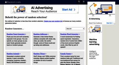 randomlists.com - random lists — the random generator of everything