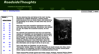 roadsidethoughts.com - roadsidethoughts - a gazetteer for the united states and canada