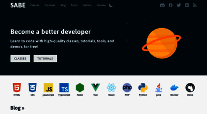 sabe.io - sabe - learn web development with free clsss and tutorials