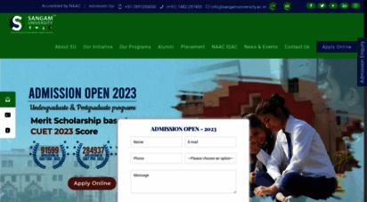 sangamuniversity.ac.in - sangam university bhilwara  b.tech  m.tech  mba  mca  m.sc  bba  b.com   aspiration meets opportunity