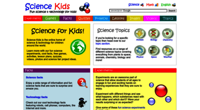 sciencekids.co.nz - science for kids - fun experiments, cool facts, online games, activities, projects, ideas, technology