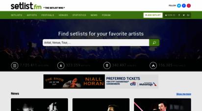 setlist.fm - setlist.fm - the setlist wiki