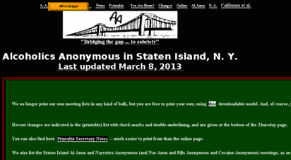 simeetings.com - staten island, ny alcoholics anonymous: home page