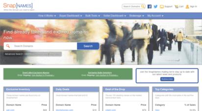 snapnames.com - domain name auction marketplace - buy and sell domain names - snapnames.com