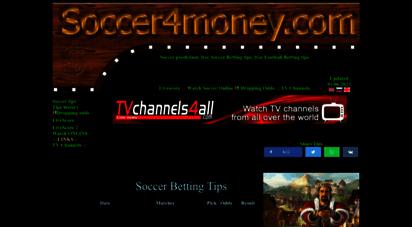 soccer4money.com - soccer betting tips soccer4money, free soccer predictions