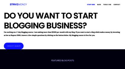 strivemoney.in - online business blog for india