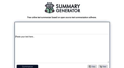 summarygenerator.com - summary generator - summarize any text online