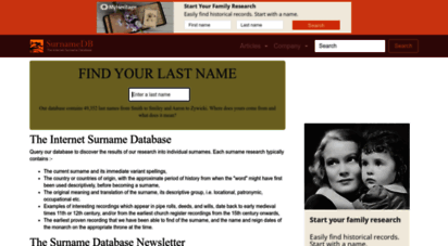 surnamedb.com - surname database: last name origins