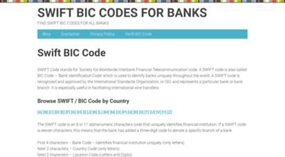 swiftbiccode.com - swift bic codes for banks