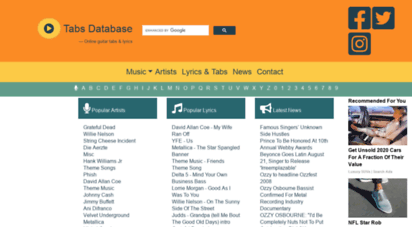 tabs-database.com - guitar tabs, chords and lyrics