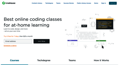 teamtreehouse.com - start learning at treehouse for free
