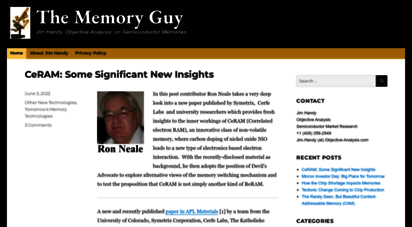 thememoryguy.com - the memory guy - jim handy, objective anlysis, on semiconductor memories