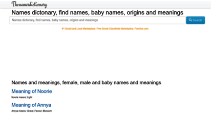 thenamesdictionary.com - names dictionary open source, dictionary of names, names and definitions, names and meanings, famous names