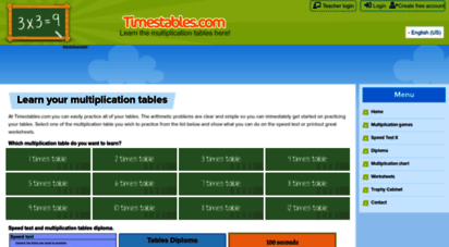 timestables.com - multiplication tables with times tables games