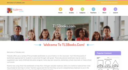tlsbooks.com - free printable worksheets for preschool - sixth grade in math, english, and more