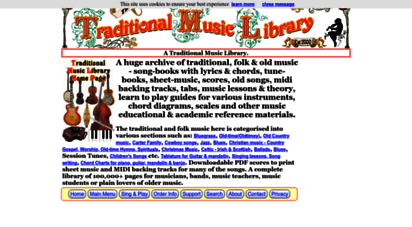 traditionalmusic.co.uk - homepage - a traditional music library of folk music, tune-books, songbooks and sheet music