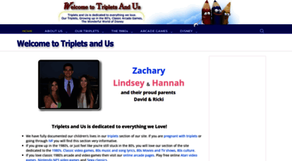 tripletsandus.com - triplets and us is dedicated to everything we love. our triplets. growing up in the 1980s. classic arcade games. the wonderful world of disney