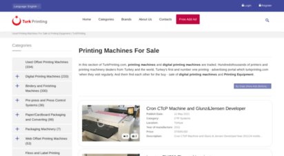 turkprinting.com - turk printing  used printing machines for sale, heidelberg, komori & roland second hand printing machines and press finishing equipments such as sheetfed, web offsets, saddle stitchers, folders, 3 knife cutters are sold by turk printing all over the world.