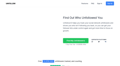 unfollow.io - find out who unfollowed you on twitch, youtube, and twitter · unfollow