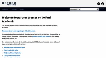 universitypressscholarship.com - university press scholarship