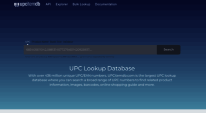 upcitemdb.com - upc lookup database with api access over 314 million unique upc numbers