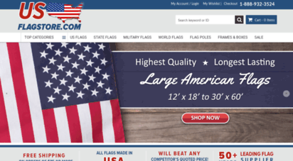 usflagstore.com - u.s. flag store  exclusively made american flags with 100 american sourced materials & labor
